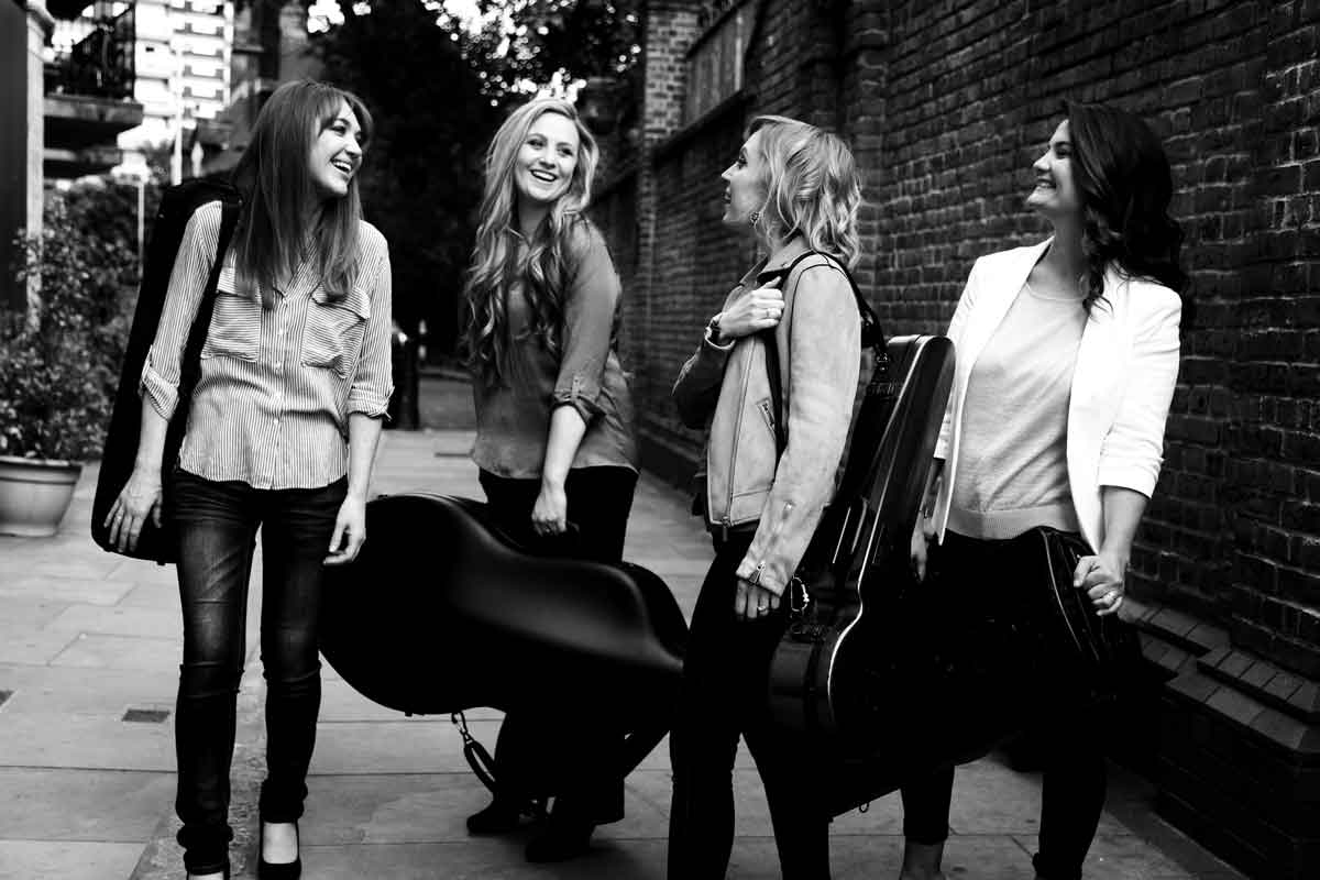 Pavão String Quartet group photography at Wilton's Music Hall, London – Photo by Frances Marshall (Marshall Light Studio)