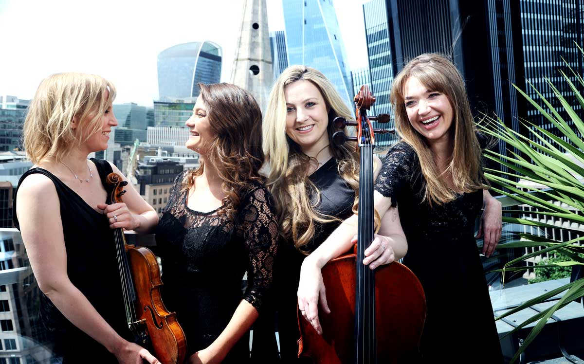 Pavão String Quartet group photography in London – Photo by Frances Marshall (Marshall Light Studio)
