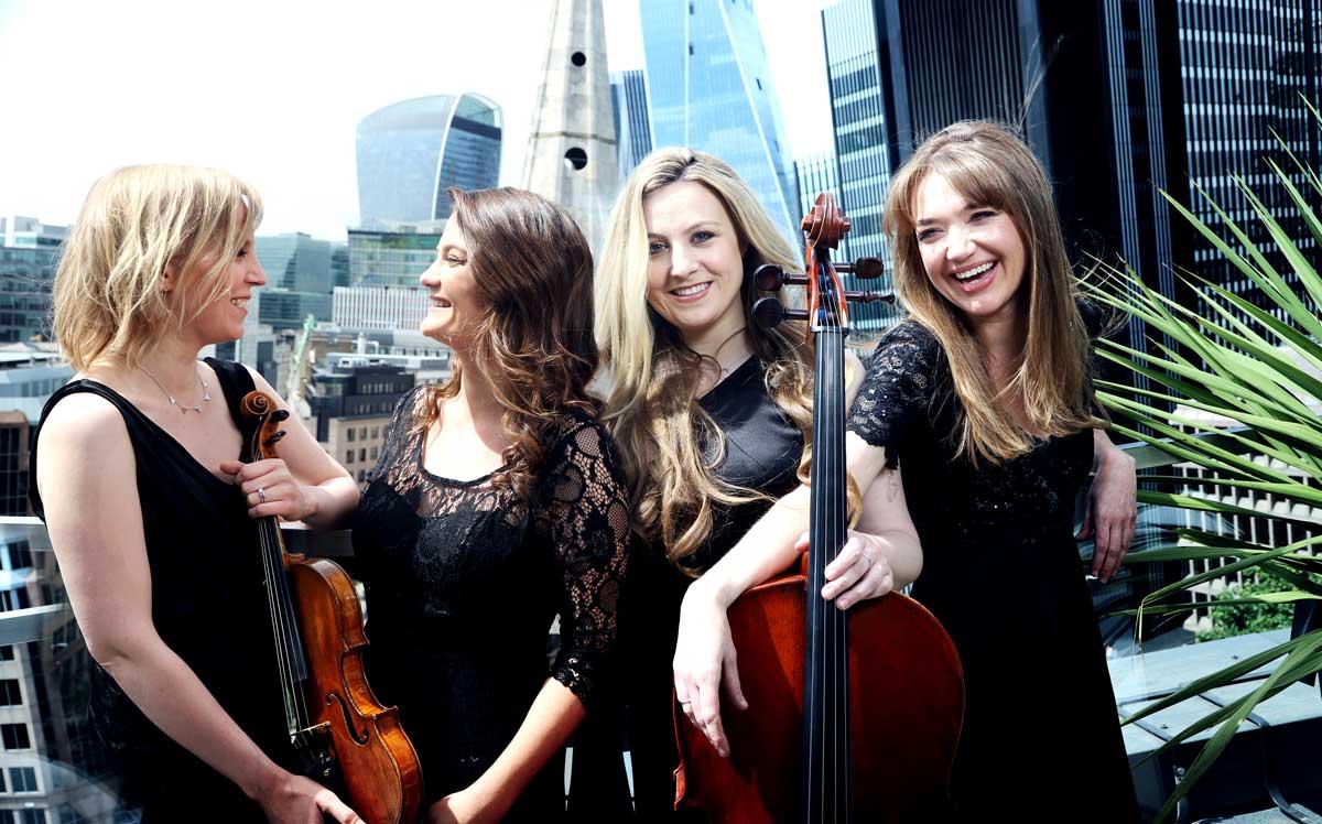 Pavão String Quartet group photography in London – Photo by Frances Marshall (Marshall Light Studio)