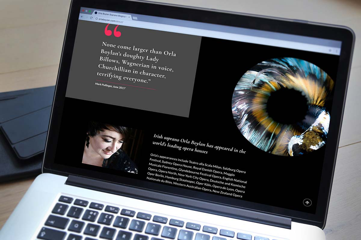 Orla Boylan website design by Marshall Light Studio