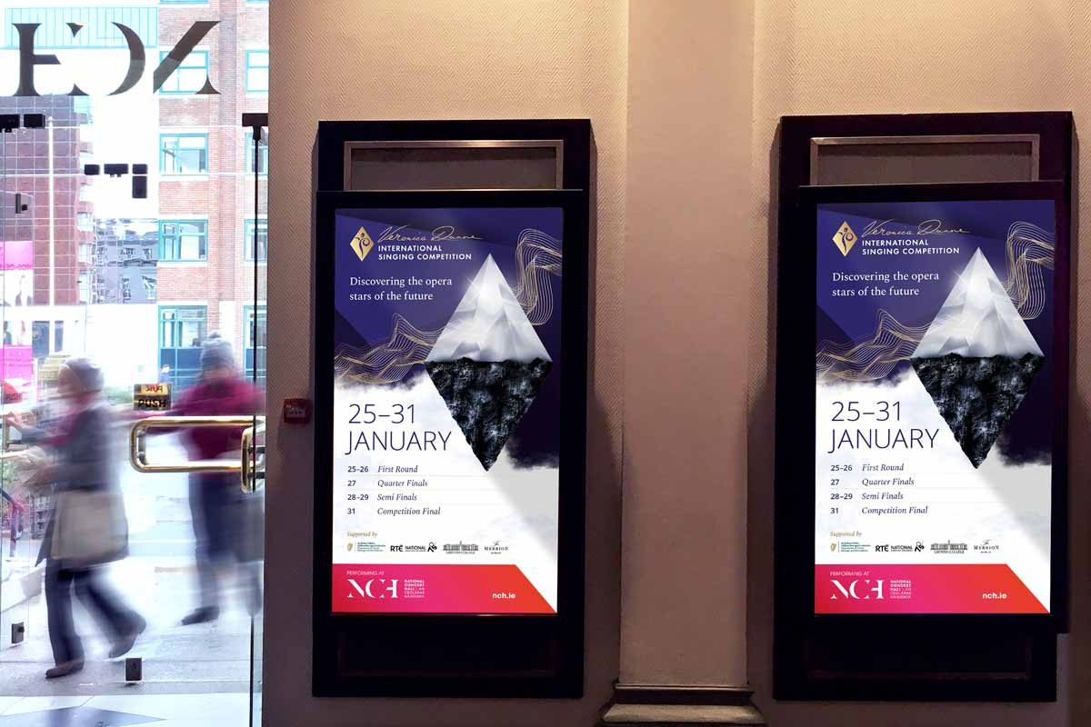 Veronica Dunne International Singing Competition (VDISC) 2019 National Concert Hall (NCH) Dublin, venue advertising by Marshall Light Studio