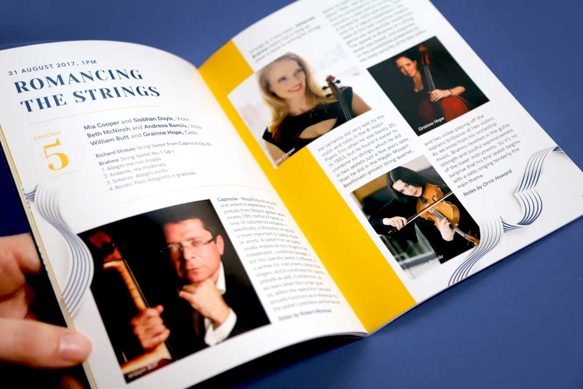 Musici Ireland programme design by Marshall Light Studio