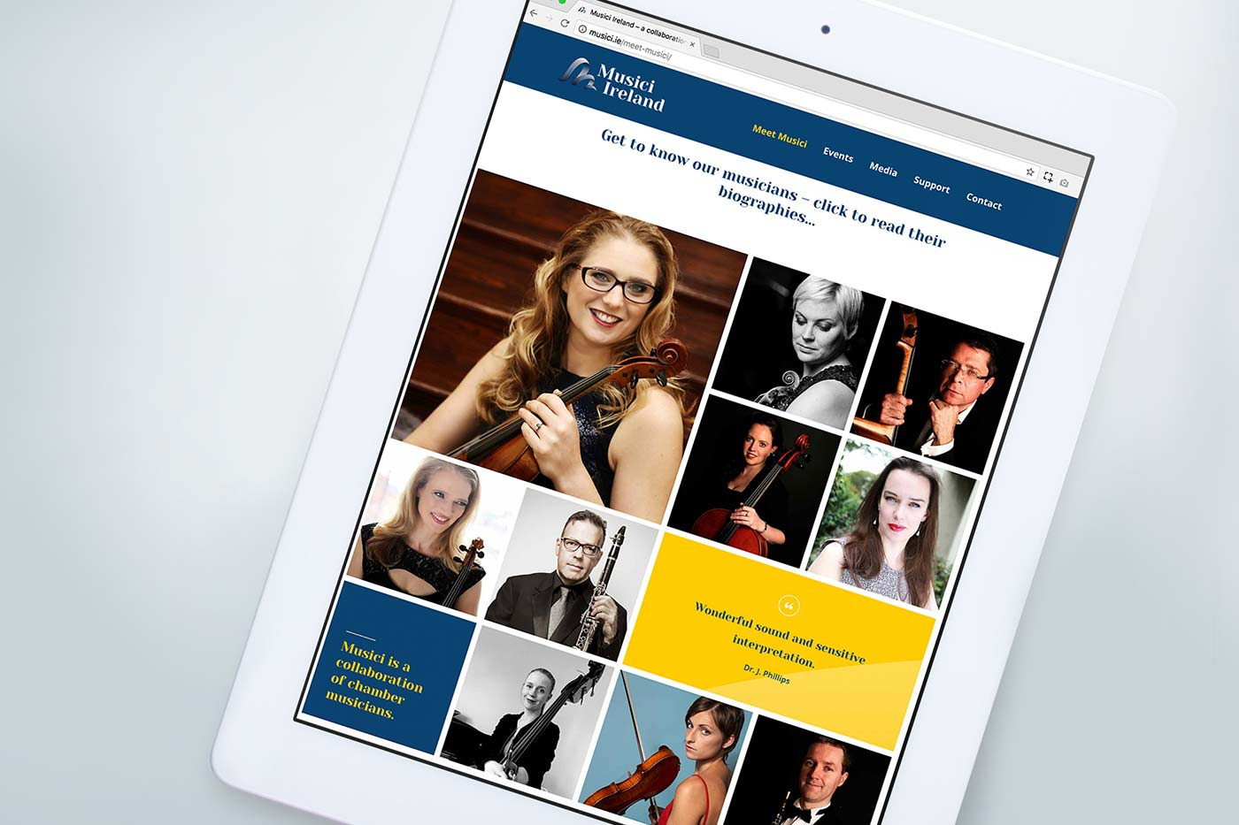 Musici Ireland responsive website design by Marshall Light Studio