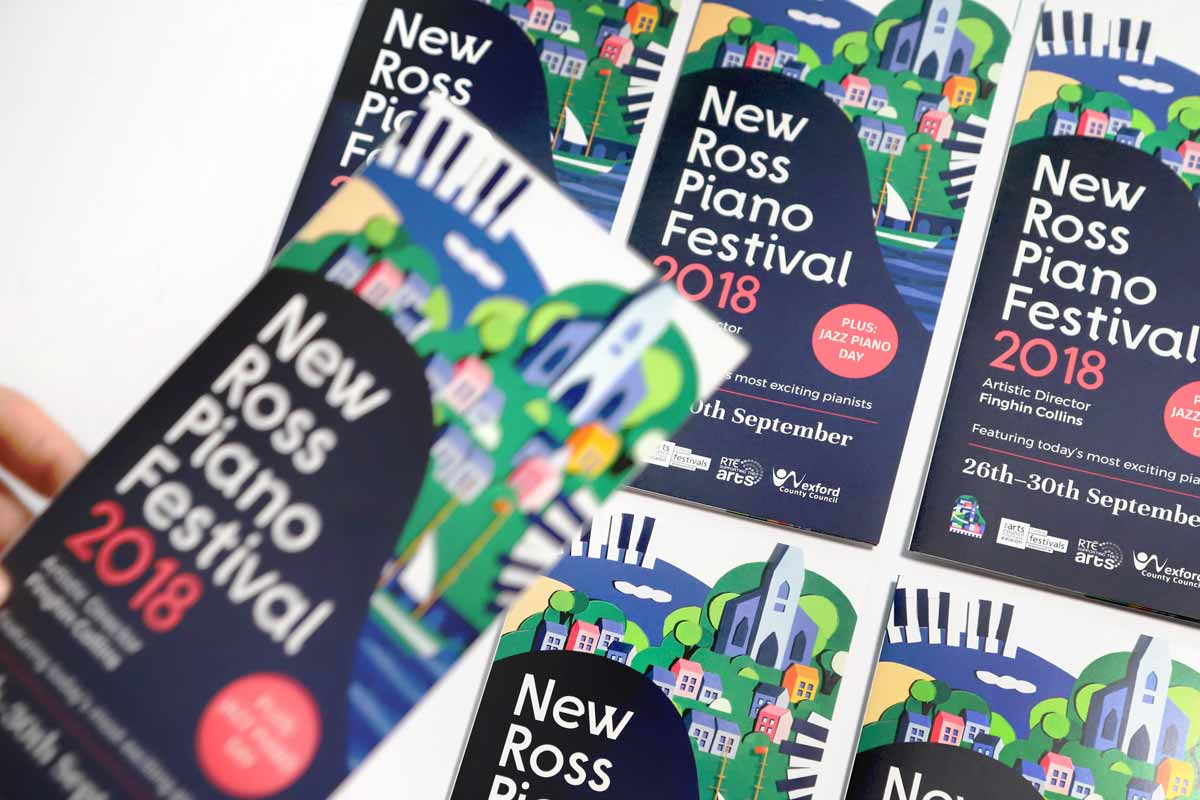New Ross Piano Festival 2018 brochure design by Marshall Light Studio