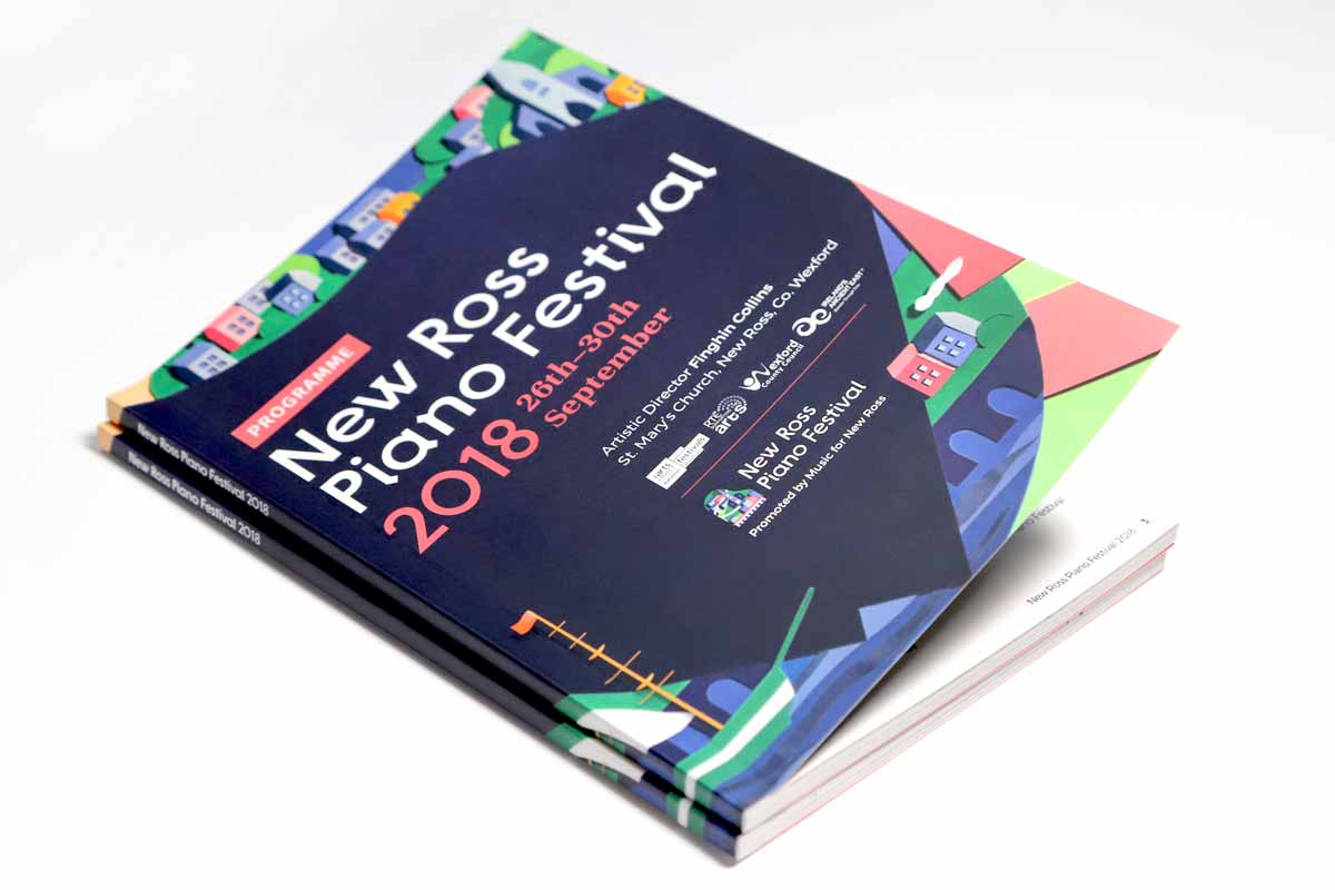 New Ross Piano Festival 2018 programme design by Marshall Light Studio