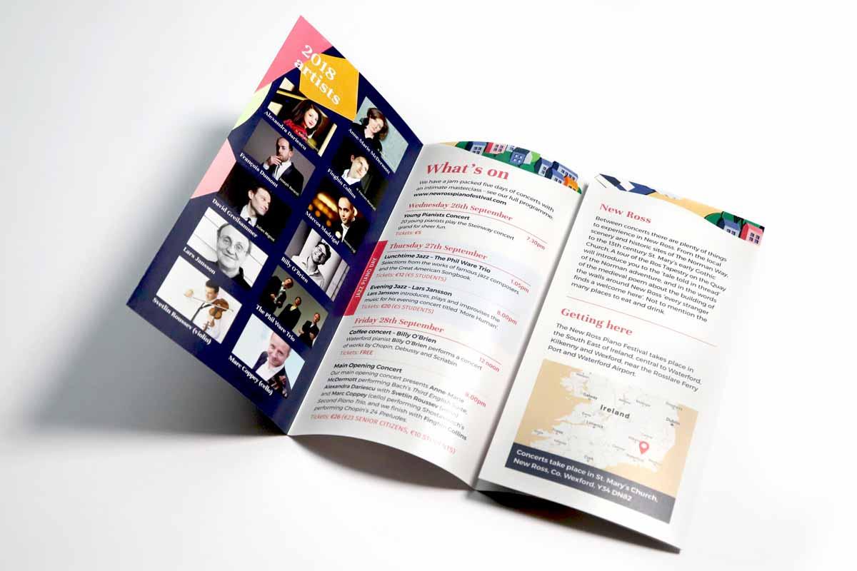 New Ross Piano Festival 2018 brochure design by Marshall Light Studio