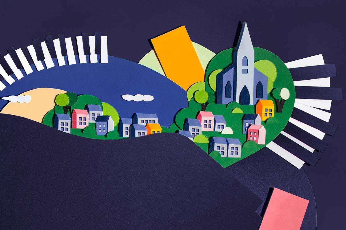 New Ross Piano Festival brand illustrations by Marshall Light Studio
