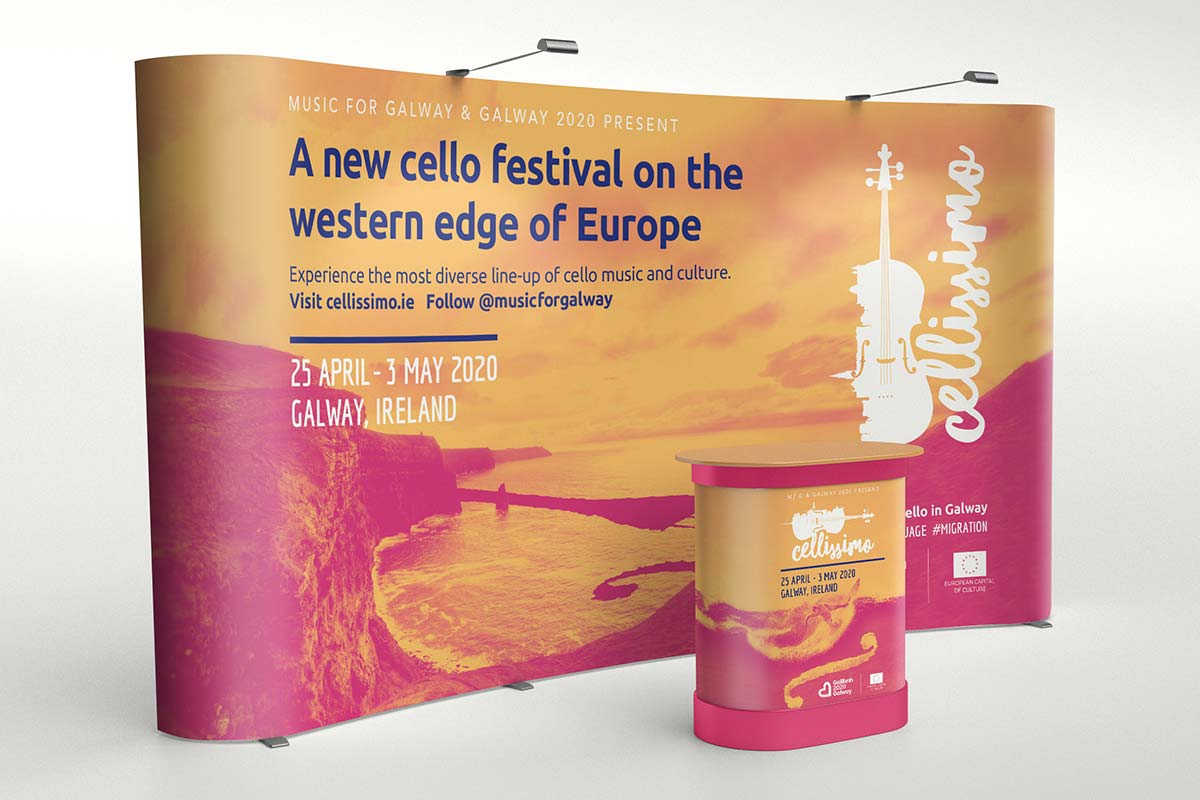 Cellissimo Festival in Galway – Brand and exhibition banner design by Marshall Light Studio