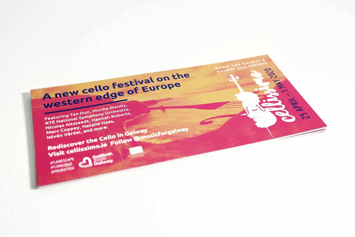 Cellissimo Festival in Galway – Flyer design by Marshall Light Studio