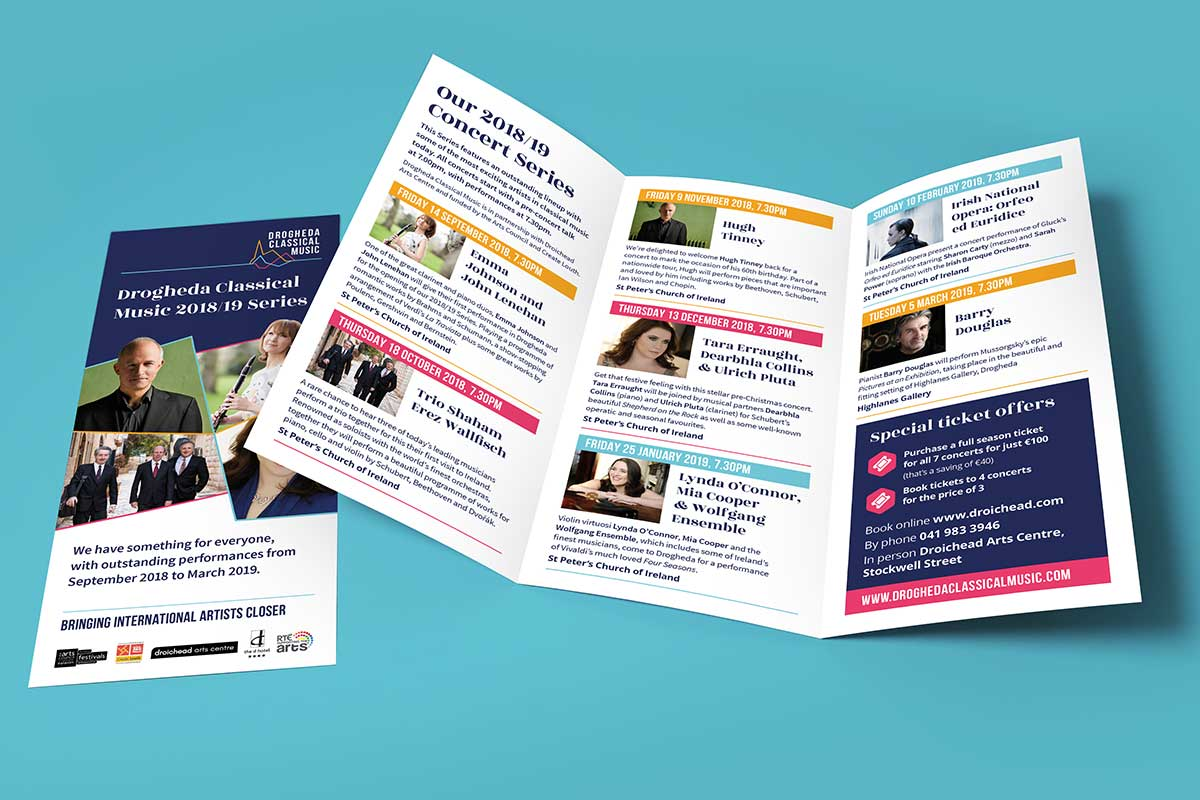 Drogheda Classical Music Series printed brochure design by Marshall Light Studio