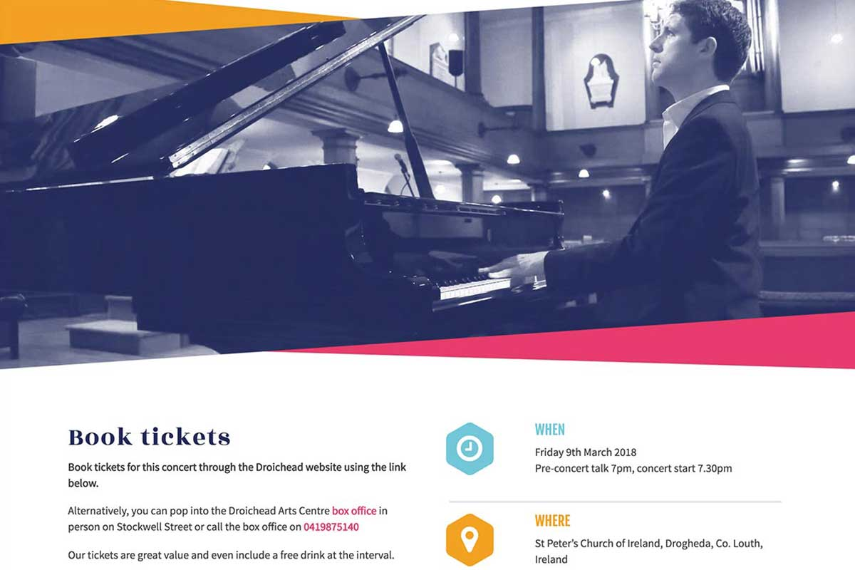 Drogheda Classical Music Series responsive website design by Marshall Light Studio