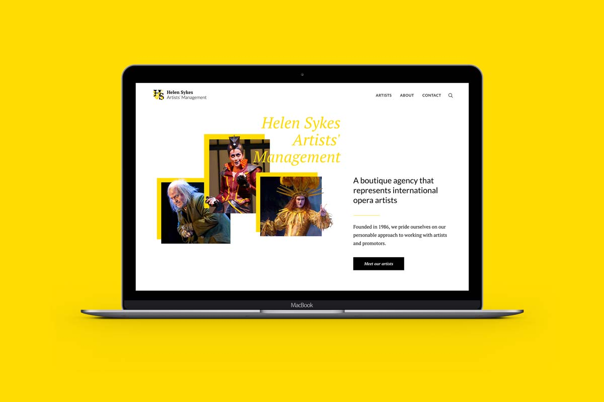 Helen Sykes Artists' Management website design by Marshall Light Studio