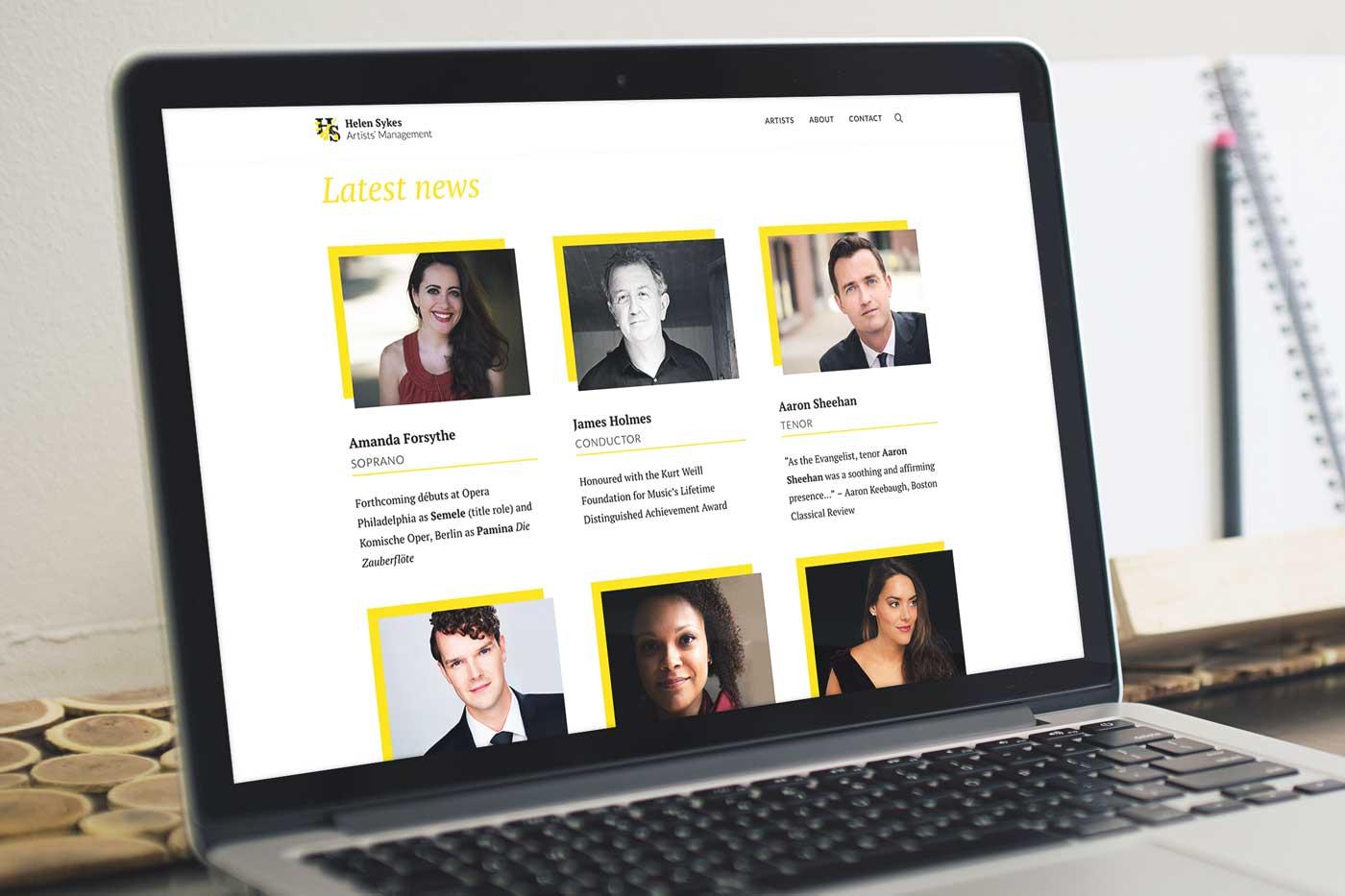 Helen Sykes Artists' Management website design by Marshall Light Studio
