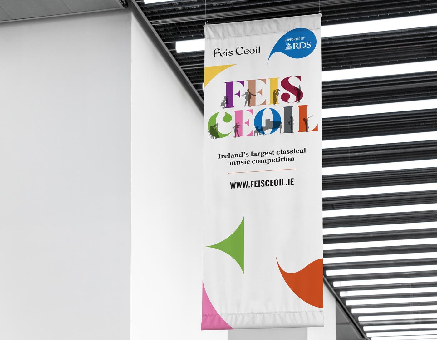 Feis Ceoil – Flag banner design + print by Marshall Light Studio
