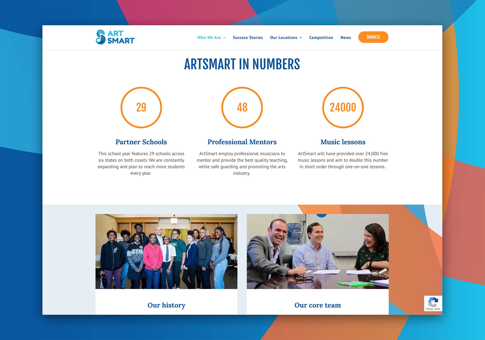 ArtSmart music mentoring charity with Michael Fabiano & John Viscardi – Design and website by Marshall Light Studio